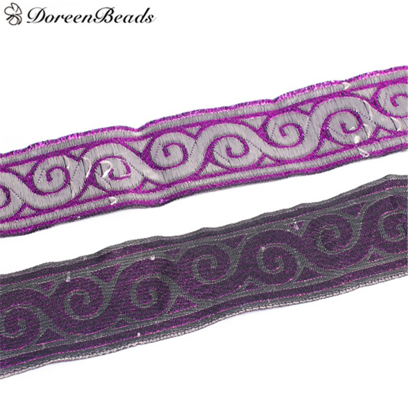 DoreenBeads Purple Wave Pattern Purple Bright Silk Polyester Lace Decorative Lace Trim Wedding Craft DIY Sewing About 9.1m 1PC