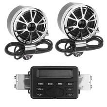 Su geçirmez motosiklet gidonu Ses Sistemi FM Radyo MP3 Stereo 2 Hoparlörler