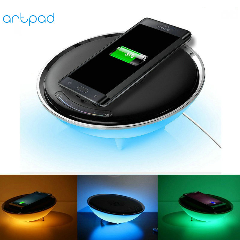 Artpad QI Wireless Charge Phone Desk Lamp Touch Dimmer 7 Changing Colors LED Night Light Bedroom Atmosphere Colorful Lighting стоимость