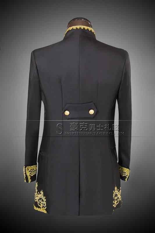 (ジャケット + パンツ + ベスト) ゴールド 2020 ファッションの男性はスリムフィット燕尾服新郎ウェディングドレススーツ刺繍男性タキシード