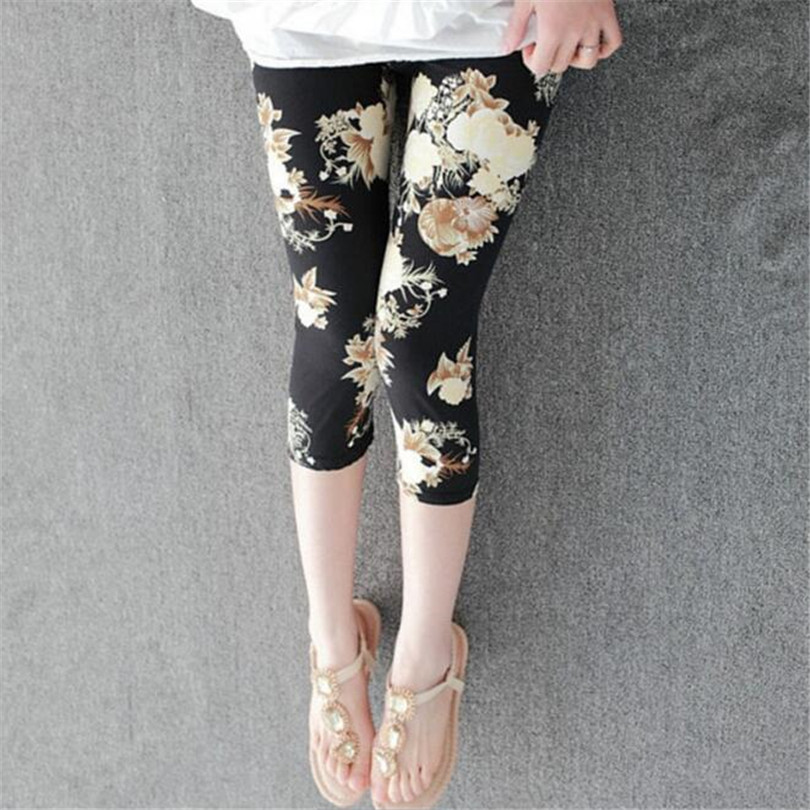 CUHAKCI Women Leggings Cropped Pants Summer Floral Printing Legging Lady's Casual Stretched Graffiti Tie Dyed Elastic Capris