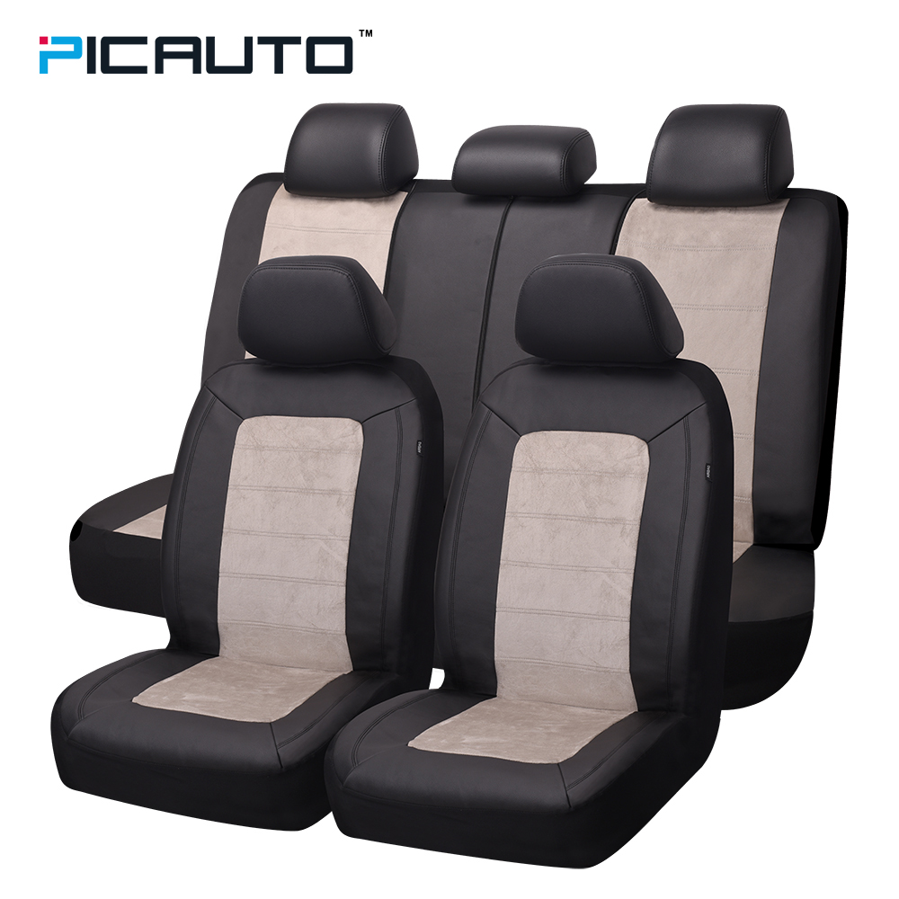 PIC AUTO Car Seat Covers Full Set PU Leather & Suede Fabric Airbag Compatible Universal Fit Auto Truck Car Interior accessories universal pu leather car seat covers for toyota corolla camry rav4 auris prius yalis avensis suv auto accessories car sticks