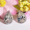 New Arrival 2 Carat Pear Cut Brilliant Simulated Diamond Halo Stud Earrings 925 Sterling Silver Gold Plated Stud Earrings