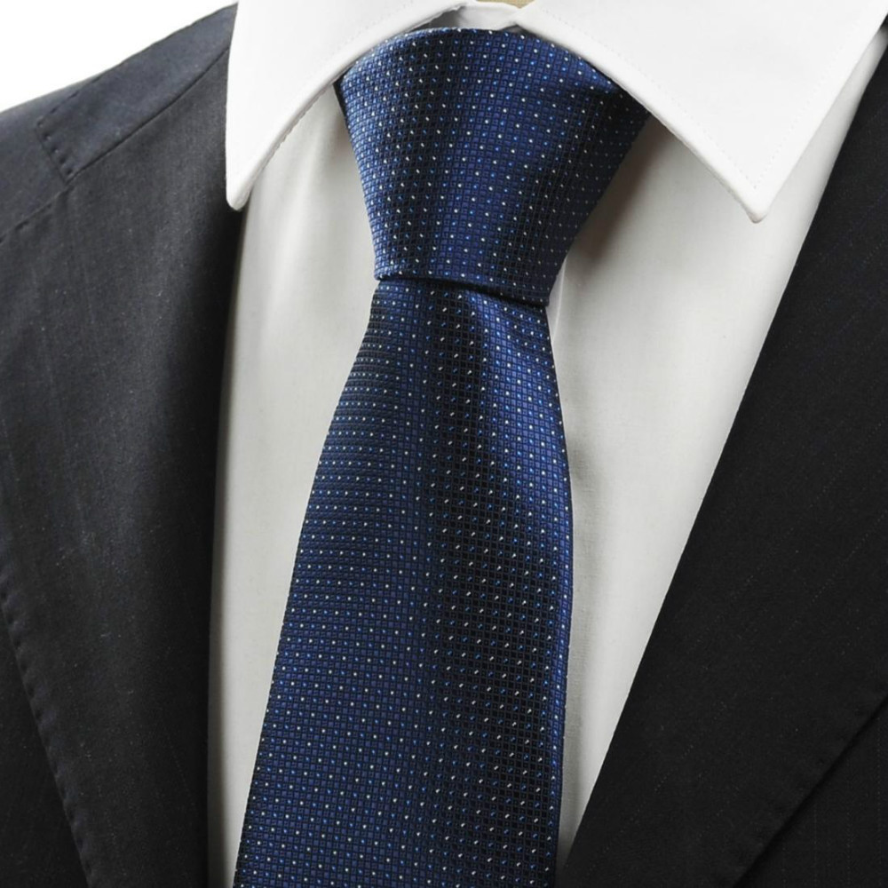 54938c4b4316 New Fashion Mens Tie Navy Dark Blue White Dots Plaid Neck Ties Classic  Jacquard Gentlemen Formal Necktie suit business Events