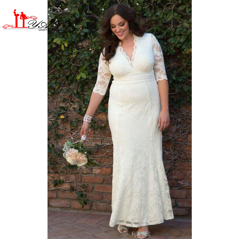 Modest Plus Size Lace Wedding Dresses Sheath Column Vintage Bridal Gowns  with Illusion Sleeves V Neck Ankle Length 2017 Summer -in Wedding Dresses  from ... 2c47006ad4c6
