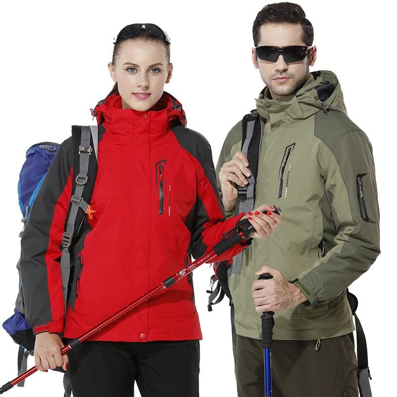 Large Size Winter Outdoor Jackets Men Women Fleece Warm Waterproof Jackets Outdoor Sports Skiing Hiking Cycling 3 In 1 Jackets