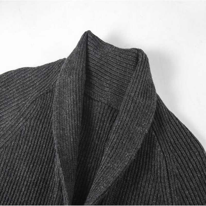2020 VXO Autunno degli uomini di Inverno Sweatercoat Maschio Ispessimento Turn-giù il Collare Cardigan Grossa Linee di Lana Maglione Cardigan