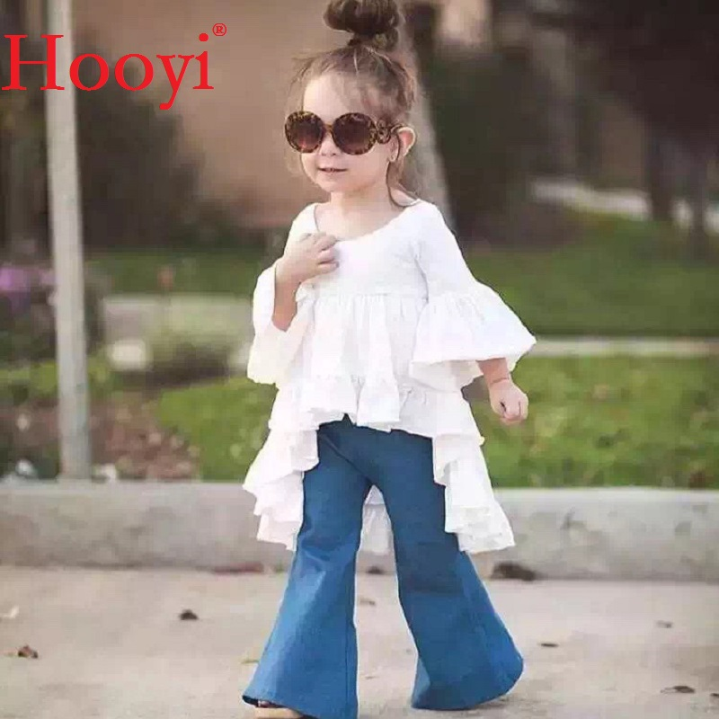 Hooyi Fashion Baby Girls Clothes Suits White Dress Top + Jean 2-Pieces Set Kids Princess Jumpers Jeans Pant Outfits Top Quality