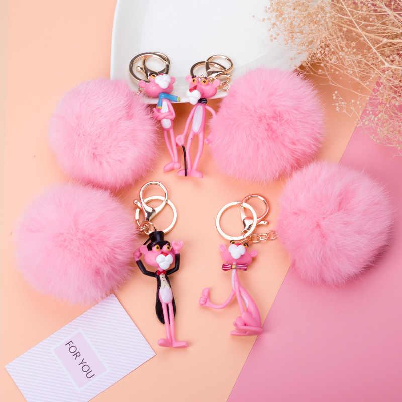2019 جديدة خلاقة ليتل الوردي النمر مفتاح حلقة الأرنب الفراء الكرة الذكور نموذج الإناث نموذج زوجين حزمة مفتاح سلسلة هدية عيد ميلاد