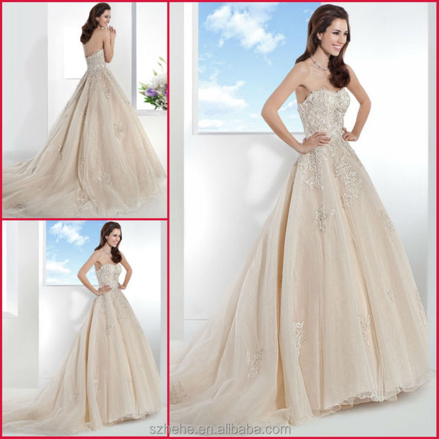 Cw2546 Amazing Beige Colored Embroidery Beaded Alibaba Ball Gown Germany Wedding Dress