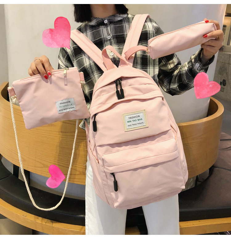 HTB1UnVPSCzqK1RjSZFLq6An2XXag Fashion Backpack Women Backpack 3 PCS set Students shoulder Bags bagpack Candy Colour Junior High school bags for teenage girls