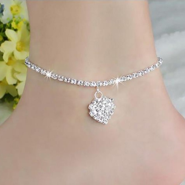 enduring diamond link genuine pin weight jewels heart carat total anklet