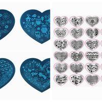 2016 New 20PCS Heart Shape Nail Art Templates Set Plates Manicure Round Lace Stainless Nail Art