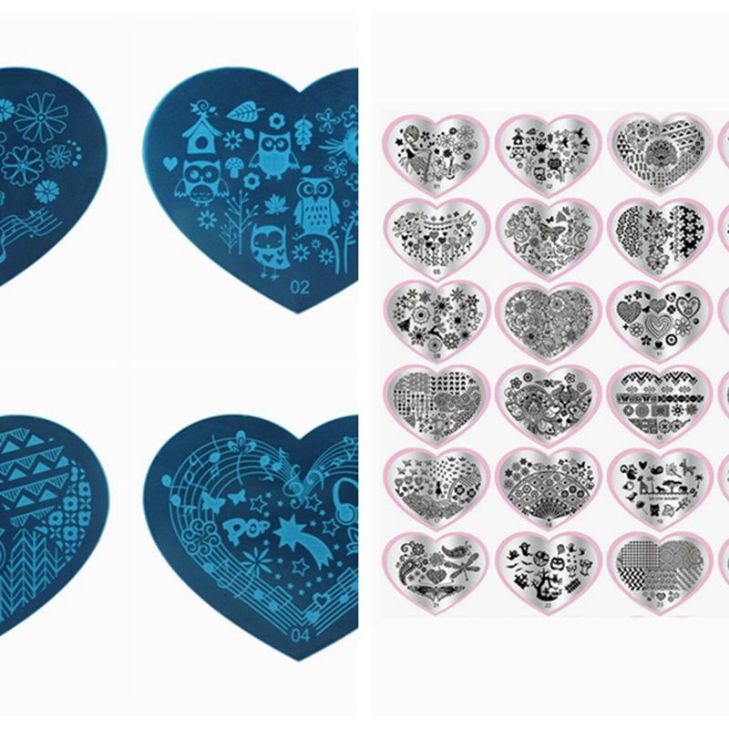 2018 new 20PCS heart shape Nail Art Templates Set Plates Manicure Round Lace Stainless Nail Art Stamping nail clipper cuticle nipper cutter stainless steel pedicure manicure scissor nail tool for trim dead skin cuticle
