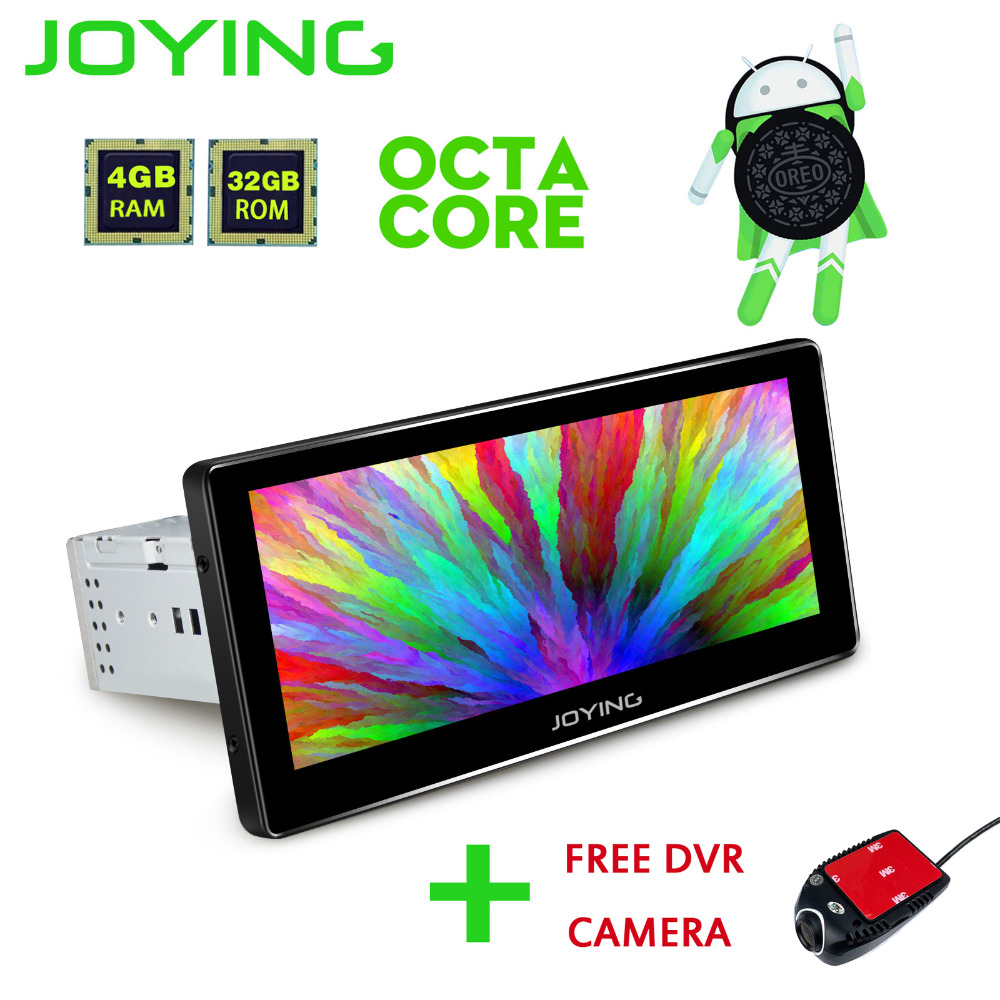 JOYING 1 Din 8.8'' GPS Android 8.0 Car Radio 4GB RAM HD Touch Screen Player LCD Monitor Octa core Stereo head unit With Free DVR
