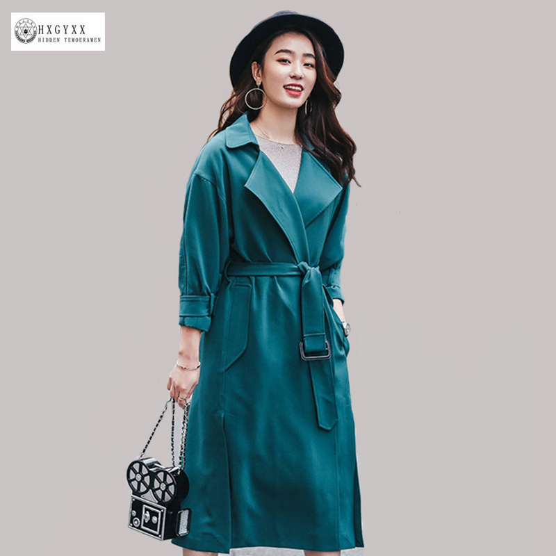2017 Spring Women Long Trench Coat Solid Color Turn-down Collar Three Quarter Sleeves Pockets Windbreaker Autumn Outwear OK594