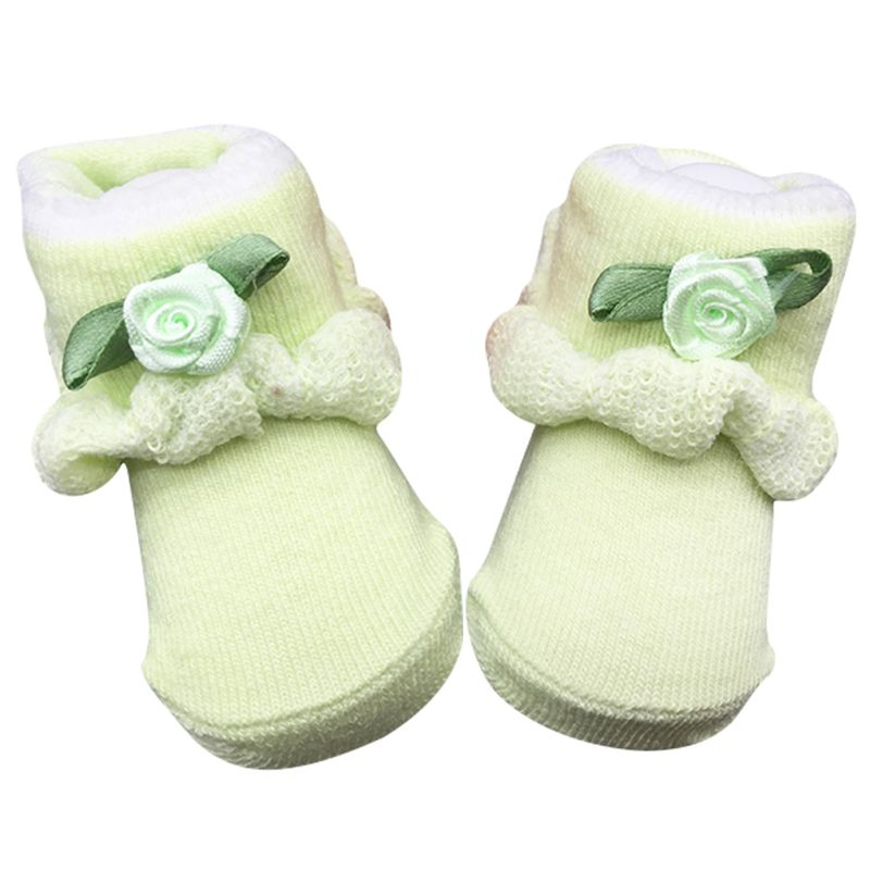 Soft Newborn Baby Infant Boy Girl Cotton Socks Flower Lace Ankle Socks 0~6 Month