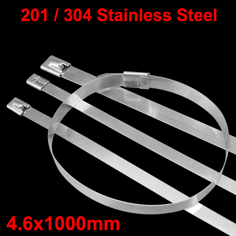 100pcs 4.6x1000mm 4.6*1000 201ss 304ss Boat Marine Zip Strap Wrap Ball Lock Self-Locking 201 304 Stainless Steel Cable Tie 304 stainless steel cable ties 4 6 400 100 package metal strap marine