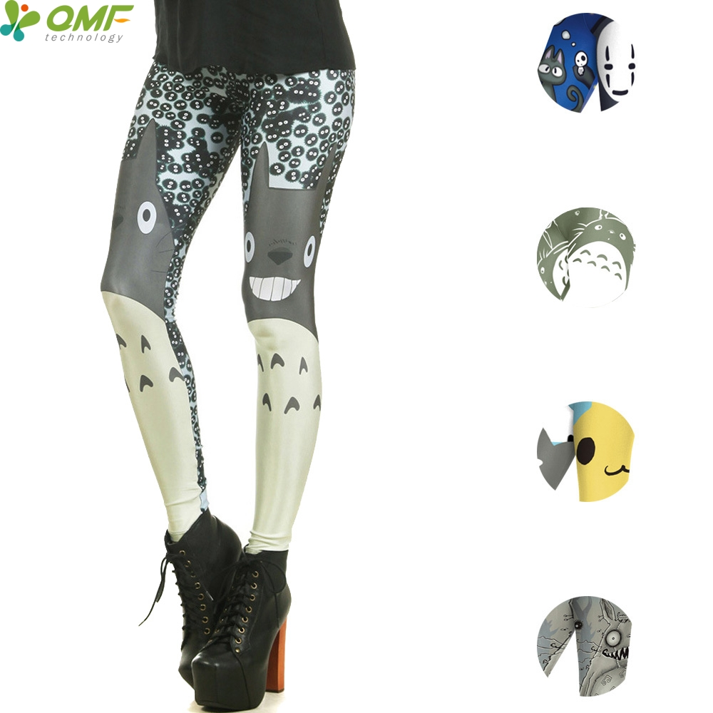4529e7b867380 Kawaii Totoro Print Female Yoga Pants Training Running Tights Cute Girl  Cartoon Pencil Trousers Halloween Skinny Leggings