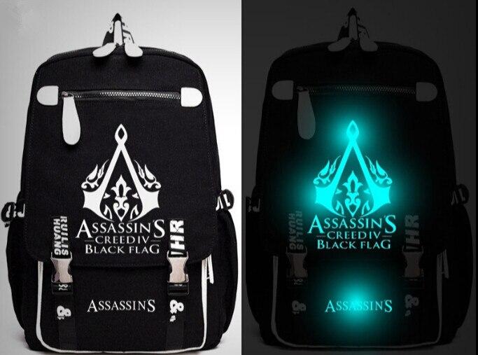 Game Assassins Creed III Backpack Messenger Luminou Bag School Travel Bags Anime Gift