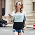 Plus Size XL-4XL 2016 Summer New Fashion Large Size was Thin Loose Stitching Spell Color Short-sleeve T-shirt AXD1477
