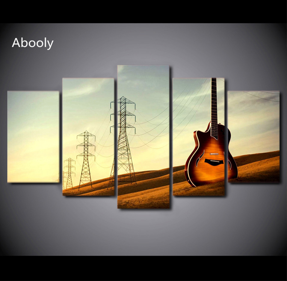 5Piece Canvas Art HD Printed Vintage Guitar Painting Music ...