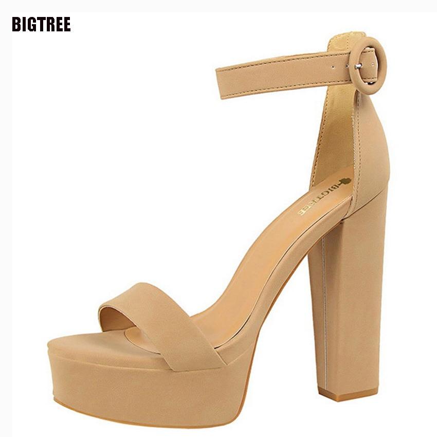 BIGTREE Brand New Women Shoes Sandals Sexy High Heel Open Toe Sandals Platform Belt Buckle Sandals Women Shoes Summer 53TXJ
