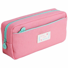 SOSW-Large Stationery Pencil Pen Case Zipper Make Up Cosmetic Brush Bag Storage Pouch Colors:Pink