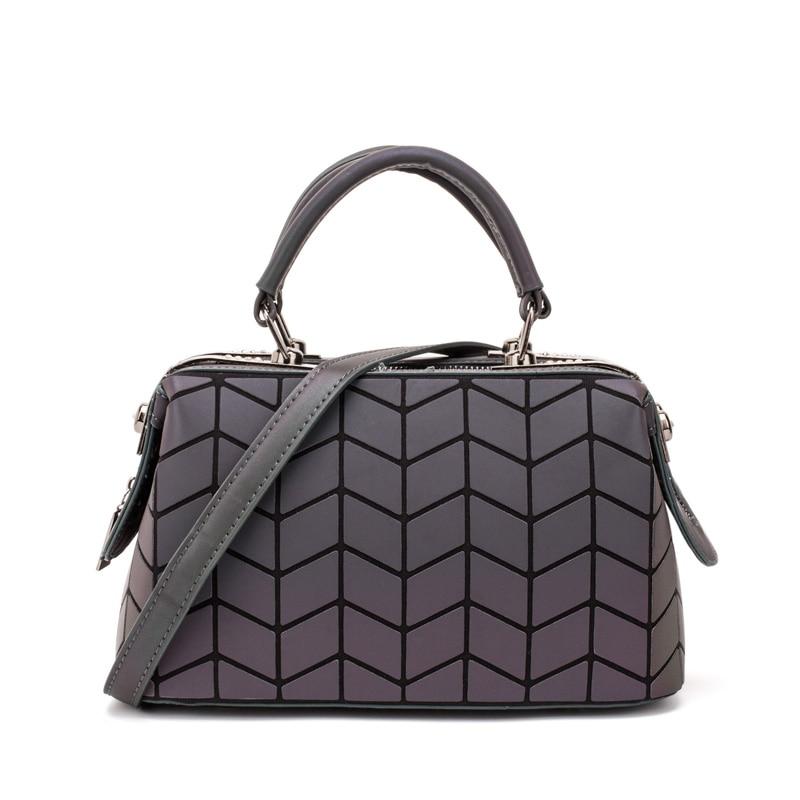 Image 4 - ファッション幾何ハンドバッグバッグ女性発光ボストン女性のメッセンジャーバッグレディース無地ショルダーバッグクラッチ嚢 bolso -     グループ上の スーツケース