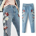 Women Spring Summer Style Pockets Denim Jeans Women Flower Embroidery Jeans Female Light Blue Casual Pants