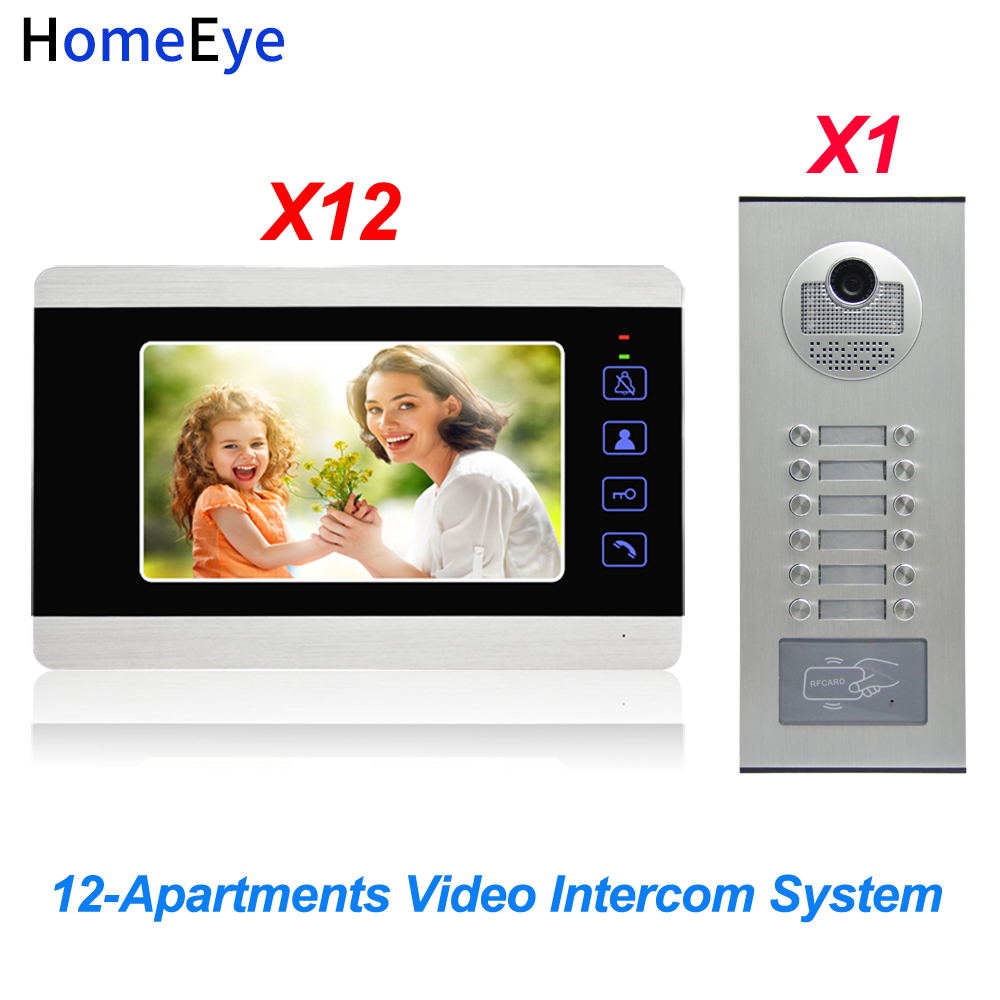 HomeEye 7'' 4-Wire Multi-House Video Door Phone Intercom 12-Apartments Door Bell Home Access Control System 1200TVL Touch Button