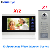 HomeEye 7'' 4-Wire Multi-House Video Door Phone Intercom 12-Apartments Door Bell Home Access Control System 1200TVL Touch Button цена в Москве и Питере