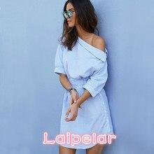 Fashion one shoulder Blue striped women shirt dress Sexy side split Elegant half sleeve waistband Casual beach dresses Laipelar