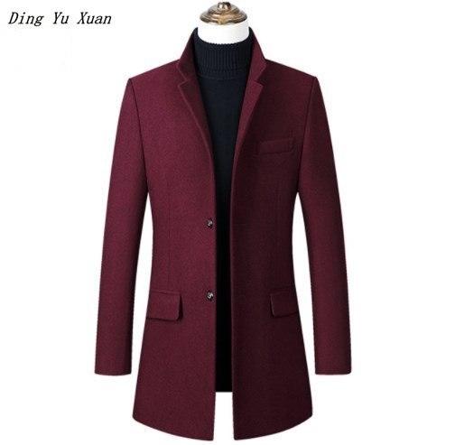 Hommes décontracté Long laine Trench Coat Slim Fit rembourré veste hommes hiver chaud matelassé Parka Homme noir bleu marine gris bordeaux 4XL