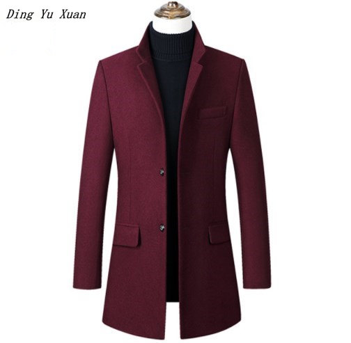 Men Casual Long Wool Trench Coat Slim Fit Padded Jacket Mens Winter Warm Quilted Parka Homme Black Navy Blue Grey Burgundy 4XL
