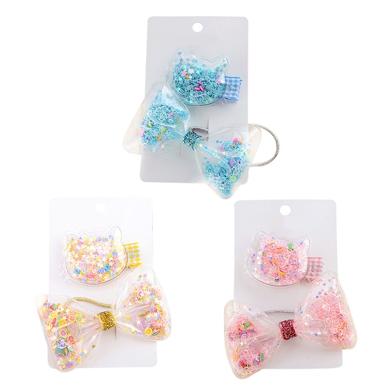 Girls Casual Hair Clip 2pcs/set Children Casual All-match Star Transparent Bow-knoted Cute Sweet Hair Clip Girl Hair Decoration(China)
