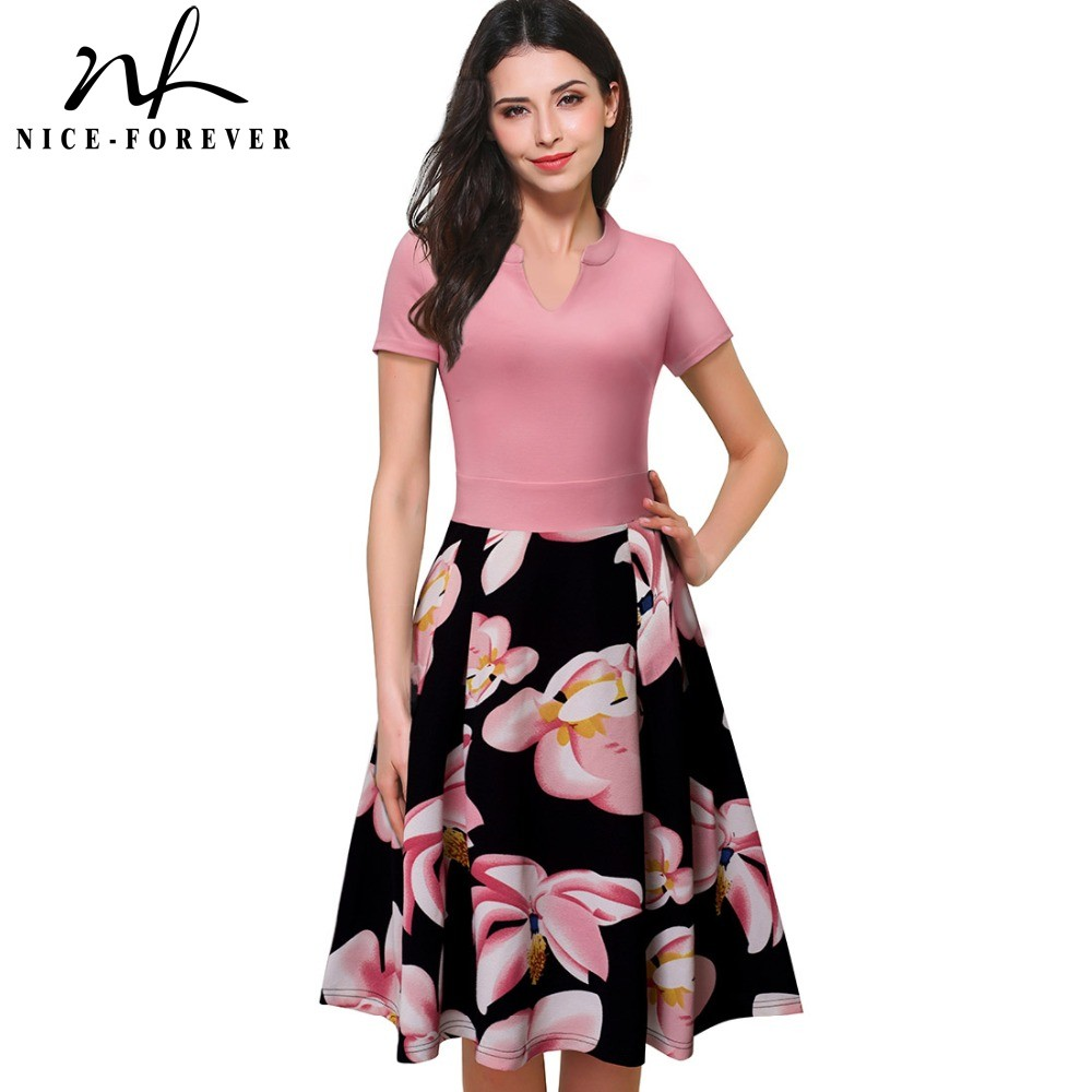Nice-forever Vintage Stylish Print Floral Patchwork V-Neck Kvinder Casual Office Kjole Short Sleeve A-Line Swing Summer Dress A036