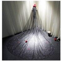 Black Wedding Veils Bling Bling Sparkly Veils Wedding Veil Accessories One Layer Long 3 Meters Bridal Veils
