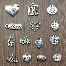 цена на 40pcs/lot Charms Love Antique Silver Color Love Heart Charms Jewelry Findings DIY Word Love Charms Wholesale