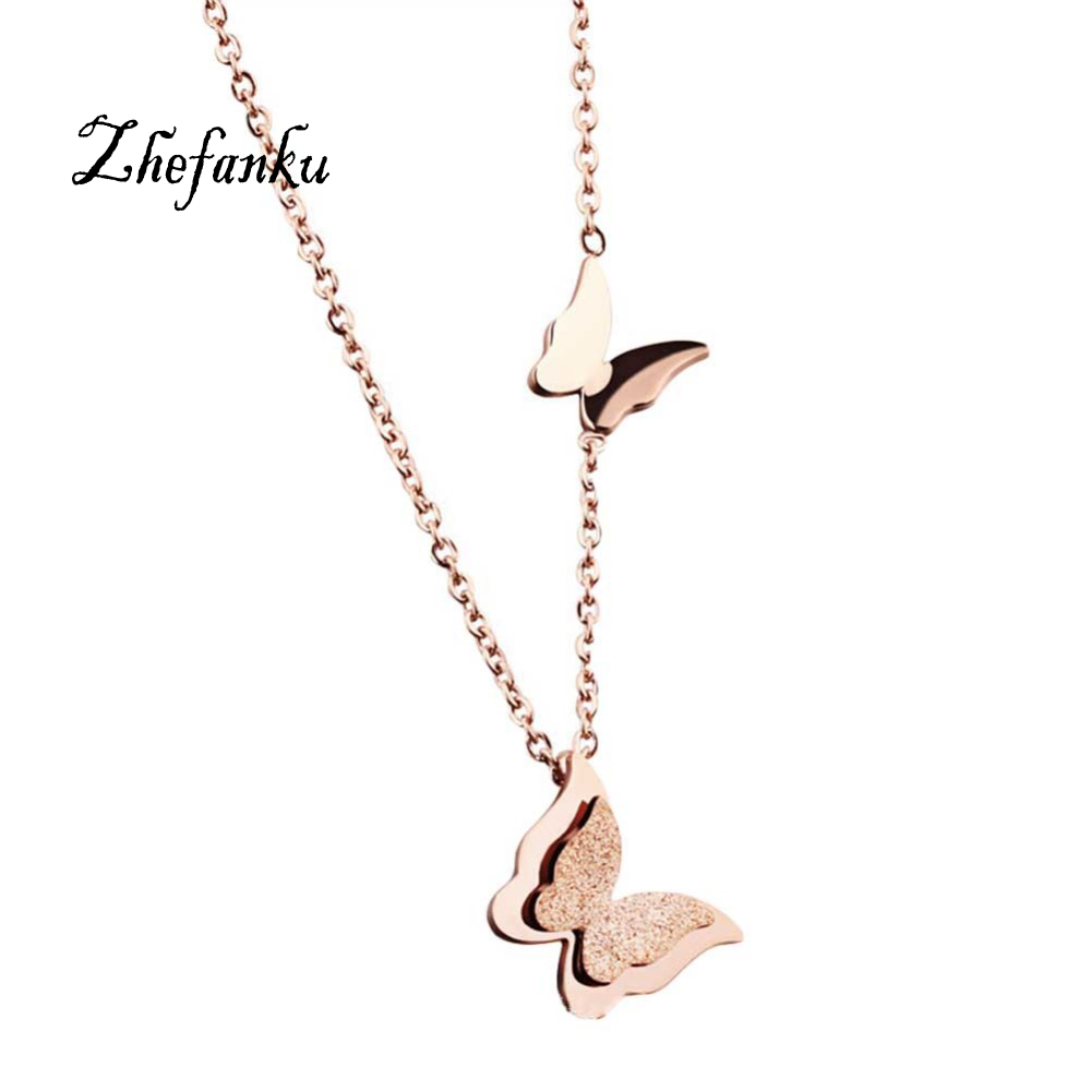 Romantic Double Butterfly Necklace Titanium Steel Rose Gold Butterfly Sanding Necklace
