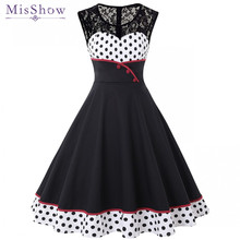 купить Summer Women Black Polka Dot Patchwork Vintage Dress 2019 Rockabilly Swing Pin Up Elegant Ladies Party Dresses Plus Size S-4XL дешево