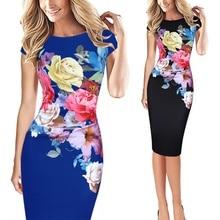 2019 Fashion Summer Women Pack Hip Dresses Elegant Slim Short Sleeve Floral Prin