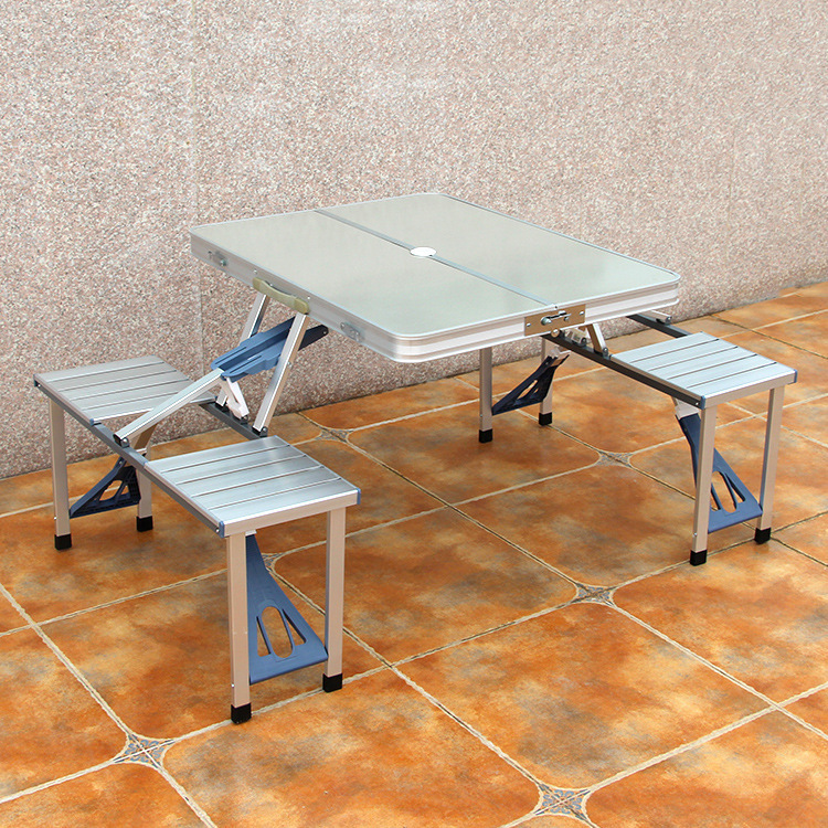 Conjoined Fold Tables And Chairs Aluminium Alloy Stall Exhibition Table Barbecue Activity Exhibition And Sale Promotion activity table red