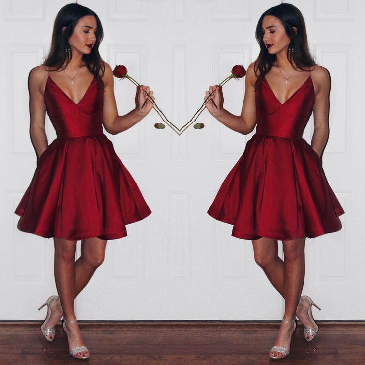 Burgundy 2019 Elegant Cocktail Dresses A-line V-neck Short Mini Satin Sexy Party Plus Size Homecoming Dresses