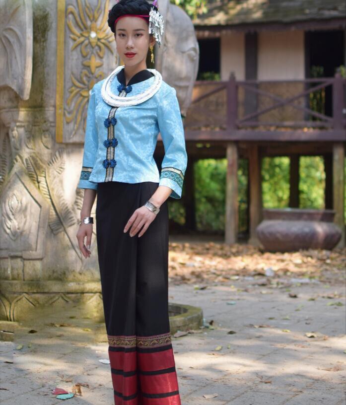 Zomer YunNan Dehong Gebied Kleding Dai traditionele retro Slim blauw vrouwen pakken Jas + Rok sprinkler water festival Jurk - 5