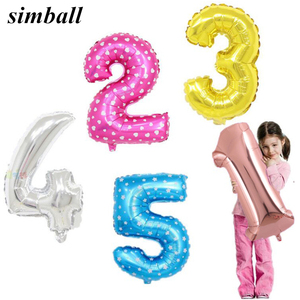 16 inch Number Balloon 1 2 3 4 5 Number Digit Helium Foil Balloons Baby Shower Happy Birthday Party Wedding Decor Balls Supplies(China)