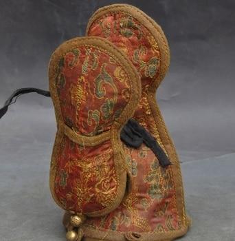 "7"" Collect Old Tibet Buddhism bronze Silk Phurpa Clifford Bell Rattles Vajra Set"