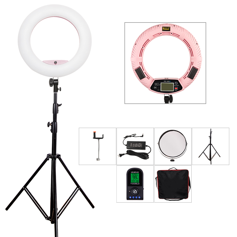 Yidoblo Pink FE-480II 5600K Dimmable Camera Ring Light 480 LED Video Light Lamp LCD display Photographic Lighting +Tripod +bag
