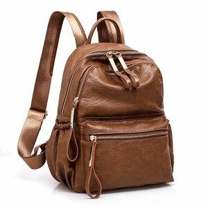 Image 1 - 2018 frauen Rucksack Hohe Qualität Rucksack PU Leder Mochila Escolar Vintage Taschen Rucksäcke Mode Daypack