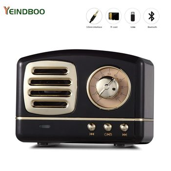 Portable Bluetooth Speaker Retro Mini Portable Wireless Bluetooth Speaker USB/TF Card Music Player HIFI Subwoofer Speaker Color 1